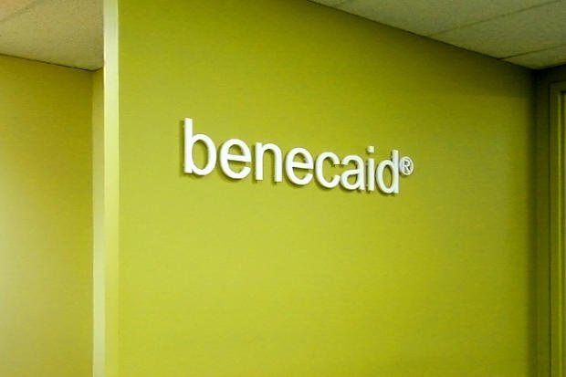 Dimensional laser cut acrylic lobby signage in business office reception area - Art Signs Company