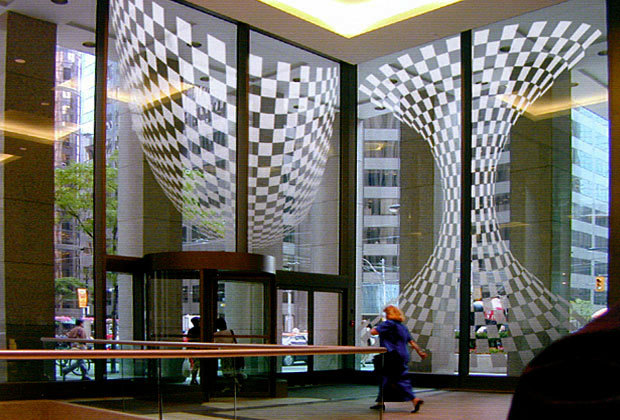 Abstract Decorative Frosted Film Design Installed On